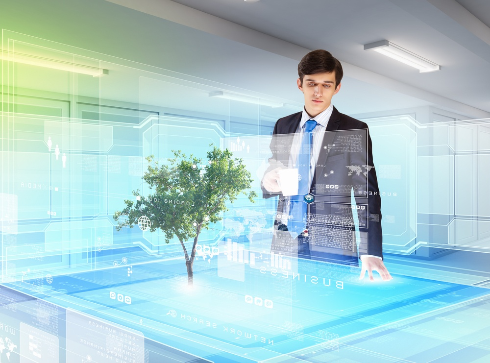 Image of young businessman against high-tech picture of environment concept