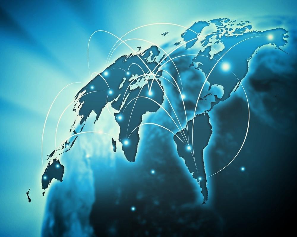Blue vivid image of globe. Globalization concept-430923-edited