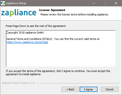 Accepting the terms and conditions of zapliance