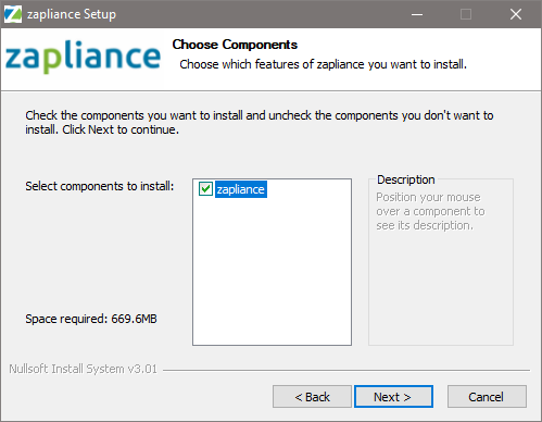 Selecting the software to install
