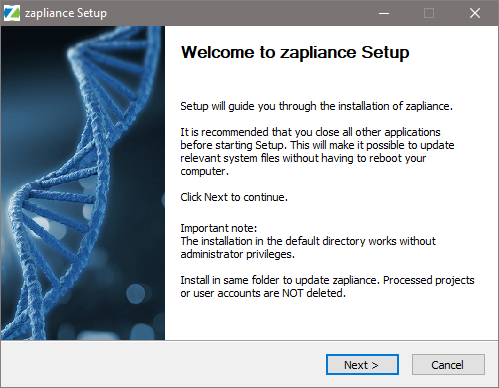 Starting the installation of zap Audit