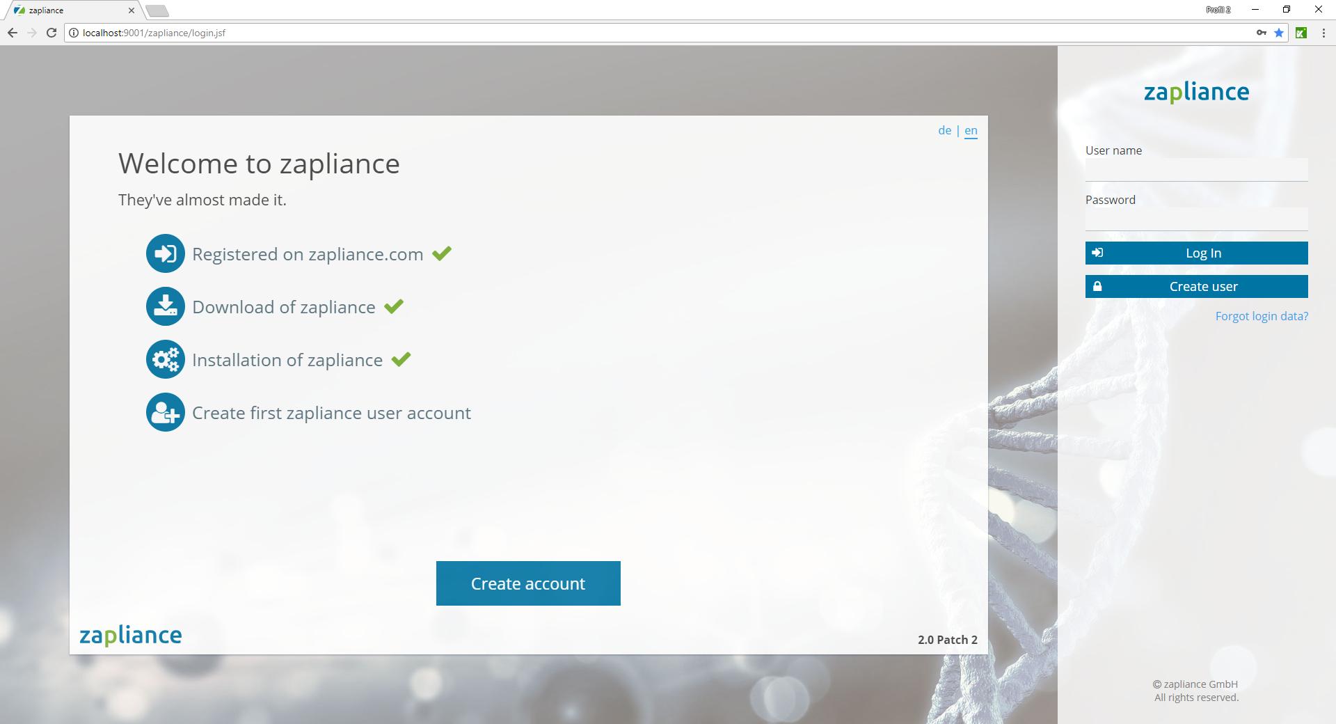Start page of zap Audit